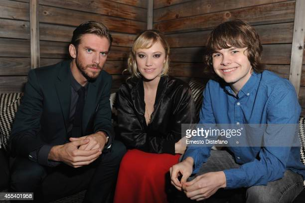 Actors Dan Stevens Maika Monroe and Brendan Meyer attend 'The Guest' premiere party during the 2014 Toronto International Film Festival held at...