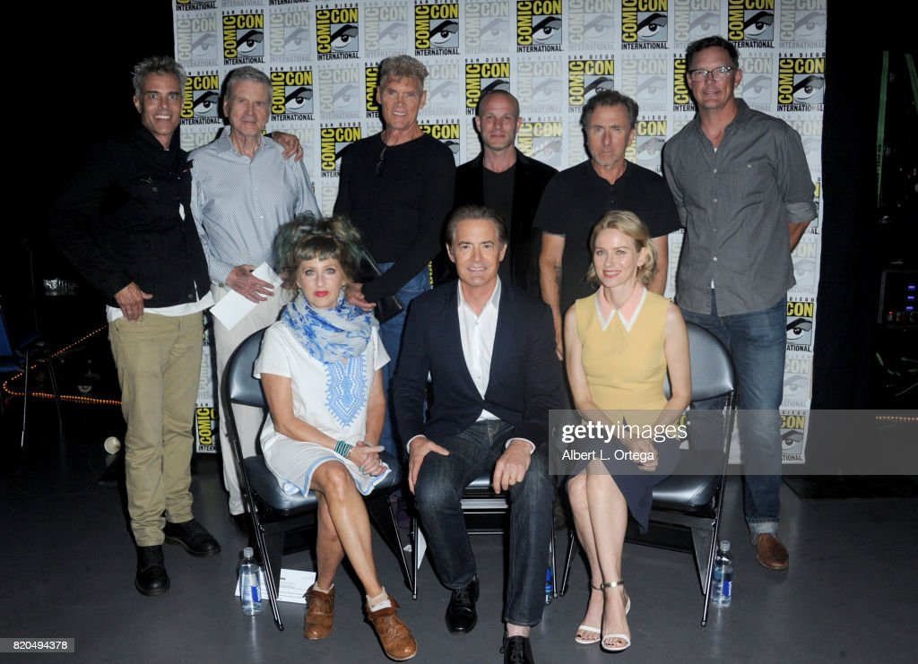 Actors Dana Ashbrook, Don Murray, Everett McGill, James Marshall, Tim Roth, Matthew Lillard (Bottom L-R) Kimmy Robertson, Kyle MacLachlan, and Naomi Watts attend 'Twin Peaks: A Damn Good Panel' during Comic-Con International 2017 at San Diego Convention Center on July 21, 2017 in San Diego, California.