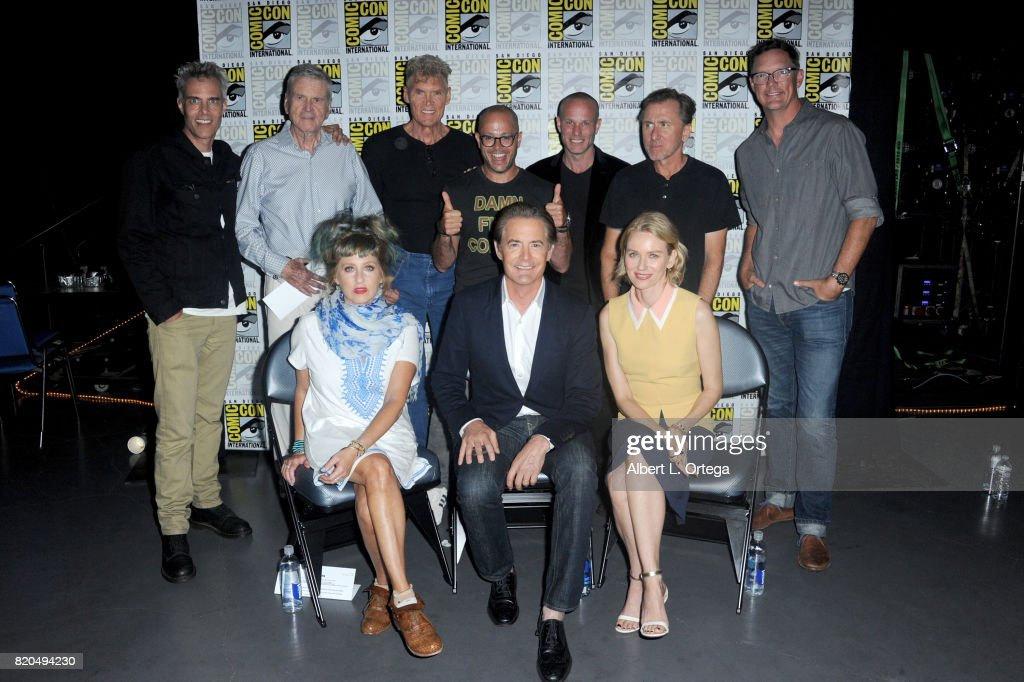 Actors Dana Ashbrook, Don Murray, Everett McGill, moderator Damon Lindelof, actors Tim Roth, Matthew Lillard (Bottom L-R) Kimmy Robertson, Kyle MacLachlan, and Naomi Watts attend 'Twin Peaks: A Damn Good Panel' during Comic-Con International 2017 at San Diego Convention Center on July 21, 2017 in San Diego, California.