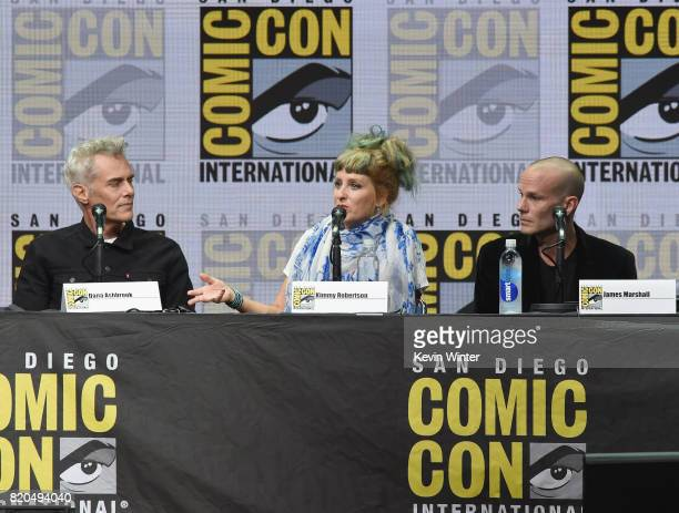 Actors Dana Ashbrook Kimmy Robertson and James Marshall attend 'Twin Peaks A Damn Good Panel' during ComicCon International 2017 at San Diego...