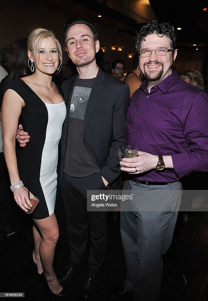Actors Dana Costello, Bryan Gallagher and Stephen Mitchell Brown attend the opening night after party of 'Jekyll & Hyde' held at Beso on February 12, 2013 in Hollywood, California.