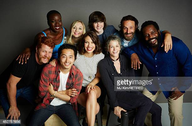 Actors Danai Gurira Emily Kinney Chandler Riggs Andrew Lincoln Chad Coleman Michael Cudlitz Steven Yeun Lauren Cohan and Melissa McBride poses for a...