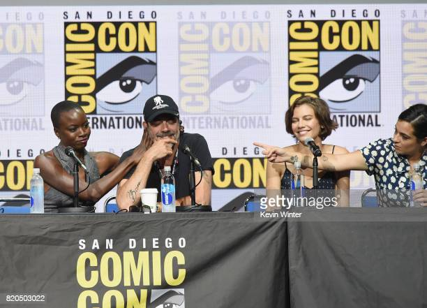 Actors Danai Gurira Jeffrey Dean Morgan Lauren Cohan and Alanna Masterson speak onstage at ComicCon International 2017 AMC's 'The Walking Dead' panel...