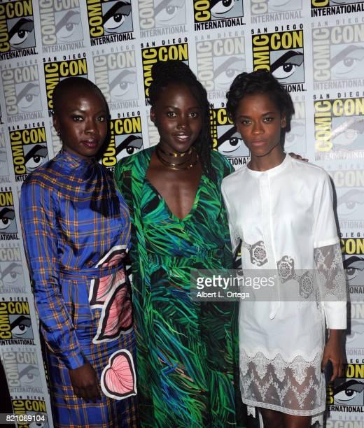 Actors Danai Gurira Lupita Nyong'o and Letitia Wright at ComicCon International 2017 Marvel Studios 'Black Panther' Presentation at San Diego...