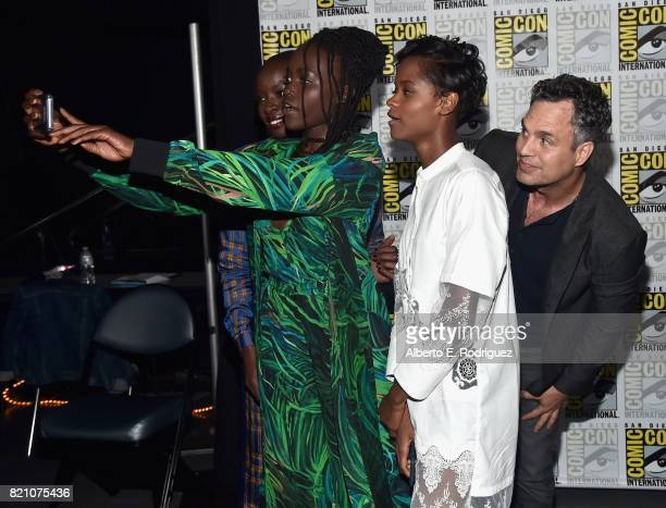 Actors Danai Gurira Lupita Nyong'o and Letitia Wright from Marvel Studios' 'Black Panther' and actor Mark Ruffalo from Marvel Studios' 'Thor...