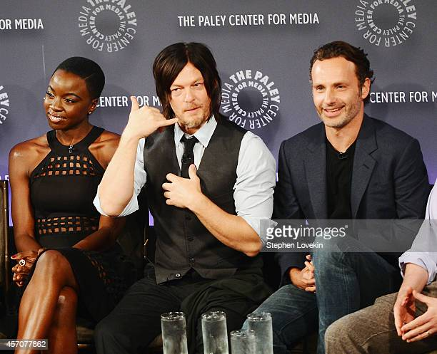 Actors Danai Gurira Norman Reedus and Andrew Lincoln attend The 2nd Annual Paleyfest New York Presents 'The Walking Dead' at Paley Center For Media...