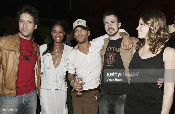Actors Dane Cook Joy Bryant director Hunter Richards and actors Chris Evans and Jessica Biel attend the after party to the premiere of the Samuel...