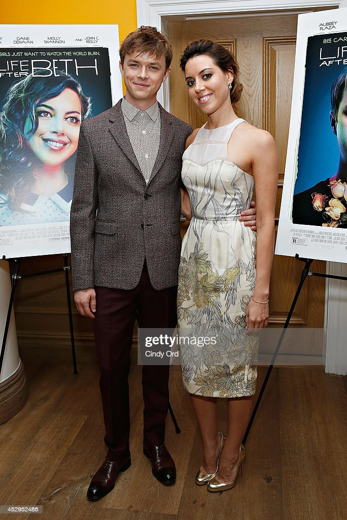 Actors Dane DeHaan and Aubrey Plaza attend the 'Life After Beth' New York Screening at Crosby Street Hotel on July 30, 2014 in New York City.