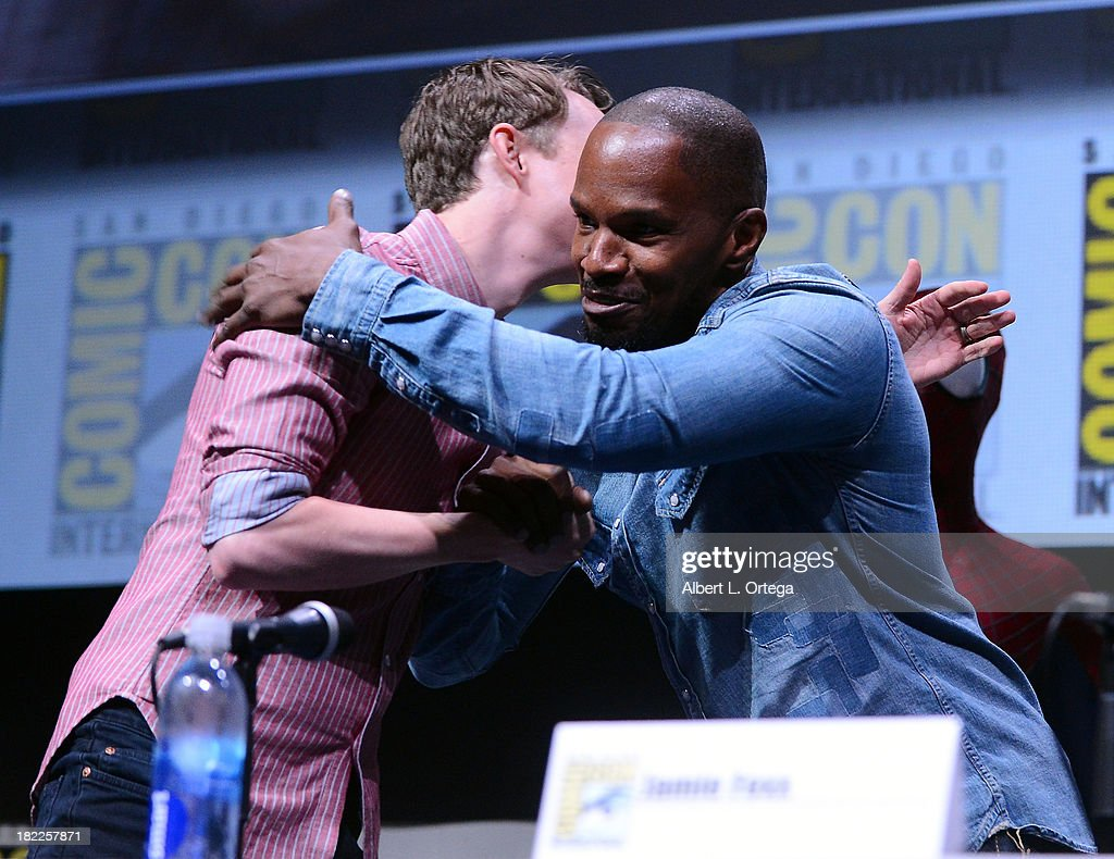 Actors Dane DeHaan and Jamie Foxx attend The Sony and Screen Gems Panel featuring The Amazing Spider-Man 2 as part of Comic-Con International 2013 held at San Diego Convention Center on Friday July 19, 2012 in San Diego, California.