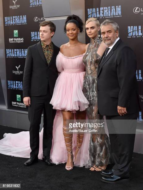 Actors Dane DeHaan Rihanna Cara Delevingne and director Luc Besson arrive at the Los Angeles premiere of 'Valerian and the City of a Thousand...