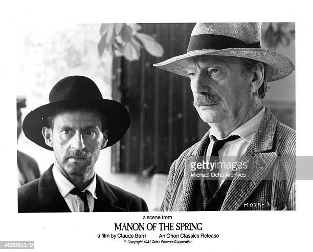 Actors Daniel Auteuil and Yves Montand in a scene from the movie ' Manon of the Spring' circa 1986