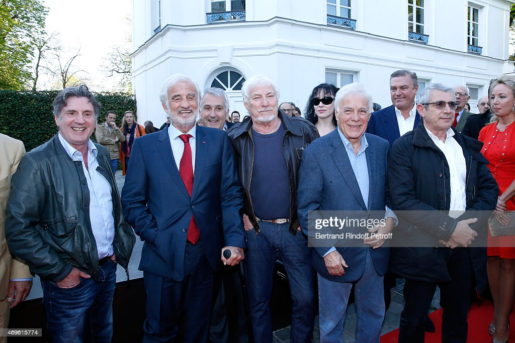 Actors <a gi-track='captionPersonalityLinkClicked' href=/galleries/search?phrase=Daniel+Auteuil&family=editorial&specificpeople=239190 ng-click='$event.stopPropagation()'>Daniel Auteuil</a>, <a gi-track='captionPersonalityLinkClicked' href=/galleries/search?phrase=Jean-Paul+Belmondo&family=editorial&specificpeople=207029 ng-click='$event.stopPropagation()'>Jean-Paul Belmondo</a>, Singer Hugues Aufray, Humorists <a gi-track='captionPersonalityLinkClicked' href=/galleries/search?phrase=Guy+Bedos&family=editorial&specificpeople=2046948 ng-click='$event.stopPropagation()'>Guy Bedos</a> and <a gi-track='captionPersonalityLinkClicked' href=/galleries/search?phrase=Michel+Boujenah&family=editorial&specificpeople=1027167 ng-click='$event.stopPropagation()'>Michel Boujenah</a> attend Museum Paul Belmondo celebrates its 5th Anniversary on April 13, 2015 in Boulogne-Billancourt, France.