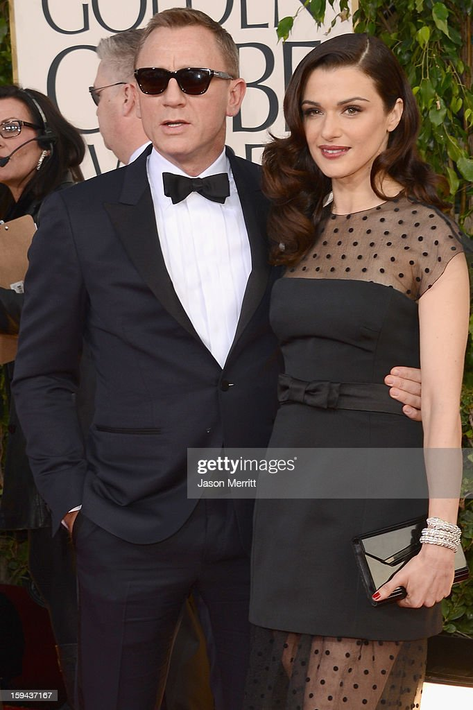 Actors Daniel Craig and Rachel Weisz arrive at the 70th Annual Golden Globe Awards held at The Beverly Hilton Hotel on January 13, 2013 in Beverly Hills, California.