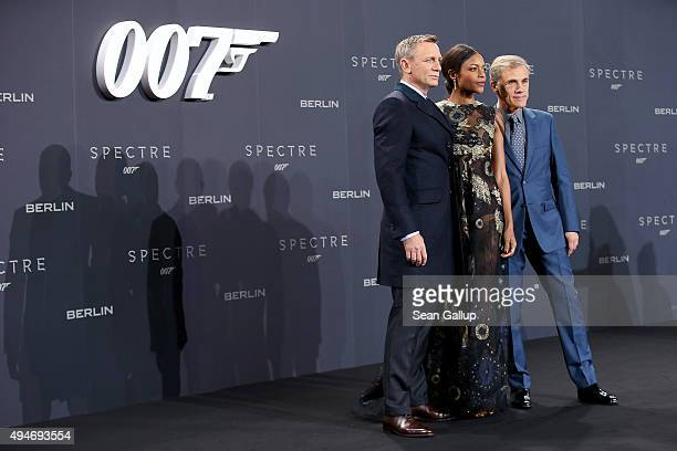 Actors Daniel Craig Naomie Harris and Christoph Waltz attend the German premiere of the new James Bond movie 'Spectre' at CineStar on October 28 2015...