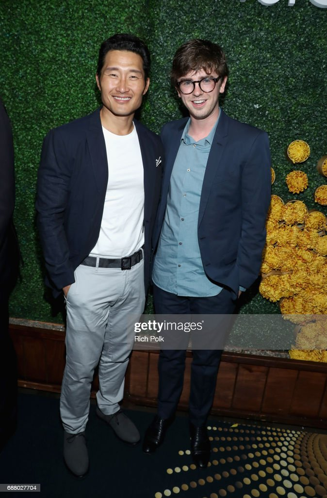 Actors Daniel Dae Kim (L) and Freddie Highmore attend the Sony Pictures Television LA Screenings Party at Catch LA on May 24, 2017 in Los Angeles, California.