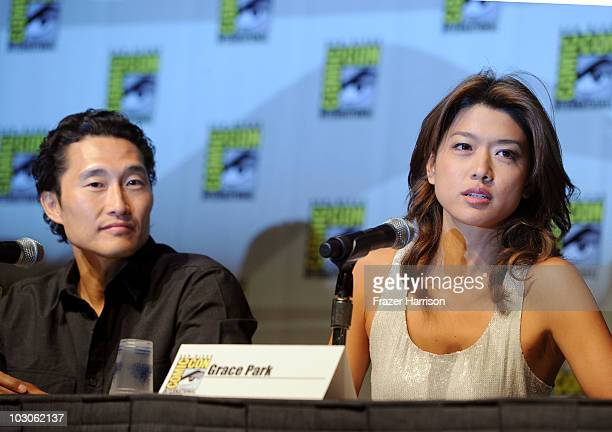 Actors Daniel Dae Kim and Grace Park speak during the 'Hawaii Five0' panel discussion during ComicCon 2010 at San Diego Convention Center on July 23...