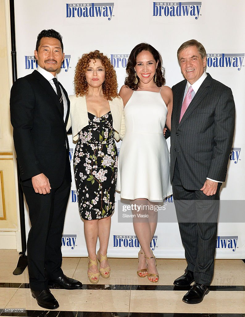 Actors Daniel Dae Kim, Bernadette Peters, Andrea Burns and Executive director of Inside Broadway, Michael Presser attend 2016 Beacon Awards at Marriott Essex House on June 20, 2016 in New York City.
