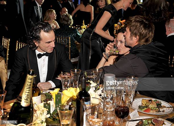 Actors Daniel Day Lewis Angelina Jolie and Brad Pitt in the audience at the TNT/TBS broadcast of the 14th Annual Screen Actors Guild Awards at the...