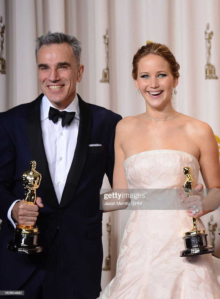 Actors <a gi-track='captionPersonalityLinkClicked' href=/galleries/search?phrase=Daniel+Day-Lewis&family=editorial&specificpeople=211475 ng-click='$event.stopPropagation()'>Daniel Day-Lewis</a>, winner of the Best Actor award for 'Lincoln,' and <a gi-track='captionPersonalityLinkClicked' href=/galleries/search?phrase=Jennifer+Lawrence&family=editorial&specificpeople=1596040 ng-click='$event.stopPropagation()'>Jennifer Lawrence</a>, winner of the Best Actress award for 'Silver Linings Playbook,' pose in the press room during the Oscars held at Loews Hollywood Hotel on February 24, 2013 in Hollywood, California.