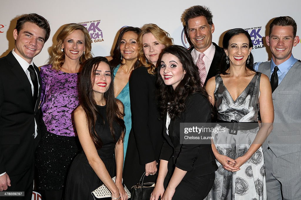 Actors Daniel Durant, <a gi-track='captionPersonalityLinkClicked' href=/galleries/search?phrase=Marlee+Matlin&family=editorial&specificpeople=173454 ng-click='$event.stopPropagation()'>Marlee Matlin</a>, Stephanie Nogueras, <a gi-track='captionPersonalityLinkClicked' href=/galleries/search?phrase=Constance+Marie&family=editorial&specificpeople=204646 ng-click='$event.stopPropagation()'>Constance Marie</a>, <a gi-track='captionPersonalityLinkClicked' href=/galleries/search?phrase=Lea+Thompson&family=editorial&specificpeople=210564 ng-click='$event.stopPropagation()'>Lea Thompson</a>, <a gi-track='captionPersonalityLinkClicked' href=/galleries/search?phrase=Vanessa+Marano&family=editorial&specificpeople=851394 ng-click='$event.stopPropagation()'>Vanessa Marano</a>, D.W. Moffett, creator / executive producer Lizzy Weiss and actor Ryan Lane of 'Switched at Birth' arrive at the National Association Of The Deaf's 1st annual Breakthrough Awards at Hollywood Roosevelt Hotel on March 13, 2014 in Hollywood, California.