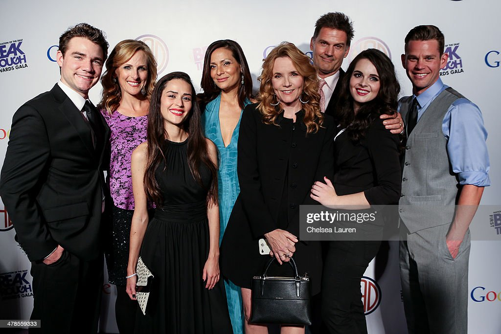 Actors Daniel Durant, <a gi-track='captionPersonalityLinkClicked' href=/galleries/search?phrase=Marlee+Matlin&family=editorial&specificpeople=173454 ng-click='$event.stopPropagation()'>Marlee Matlin</a>, Stephanie Nogueras, <a gi-track='captionPersonalityLinkClicked' href=/galleries/search?phrase=Constance+Marie&family=editorial&specificpeople=204646 ng-click='$event.stopPropagation()'>Constance Marie</a>, <a gi-track='captionPersonalityLinkClicked' href=/galleries/search?phrase=Lea+Thompson&family=editorial&specificpeople=210564 ng-click='$event.stopPropagation()'>Lea Thompson</a>, D.W. Moffett, <a gi-track='captionPersonalityLinkClicked' href=/galleries/search?phrase=Vanessa+Marano&family=editorial&specificpeople=851394 ng-click='$event.stopPropagation()'>Vanessa Marano</a> and Ryan Lane of 'Switched at Birth' arrive at the National Association Of The Deaf's 1st annual Breakthrough Awards at Hollywood Roosevelt Hotel on March 13, 2014 in Hollywood, California.