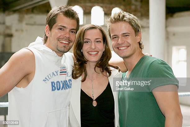 Actors Daniel Fehlow Ulrike Frank and Pete Dwojak pose at a photocall on the set of the German television series 'Gute Zeiten Schlechte Zeiten' June...