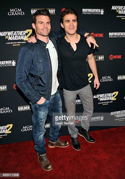 Actors Daniel Gillies and Paul Wesley arrive at Showtime's VIP prefight party for 'Mayhem Mayweather vs Maidana 2' at the MGM Grand Garden Arena on...