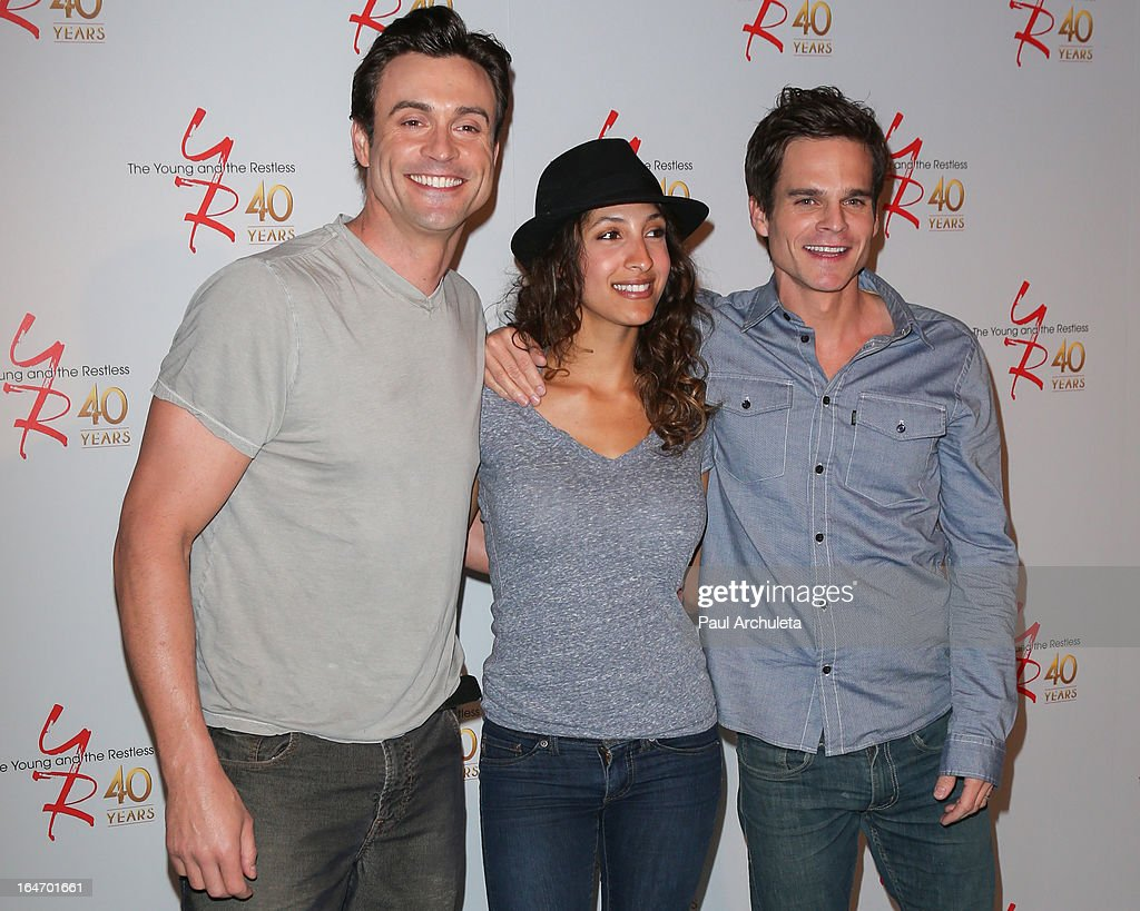 Actors Daniel Goddard, <a gi-track='captionPersonalityLinkClicked' href=/galleries/search?phrase=Christel+Khalil&family=editorial&specificpeople=241522 ng-click='$event.stopPropagation()'>Christel Khalil</a> and <a gi-track='captionPersonalityLinkClicked' href=/galleries/search?phrase=Greg+Rikaart&family=editorial&specificpeople=242898 ng-click='$event.stopPropagation()'>Greg Rikaart</a> attend 'The Young & The Restless' 40th anniversary cake cutting ceremony at CBS Television City on March 26, 2013 in Los Angeles, California.