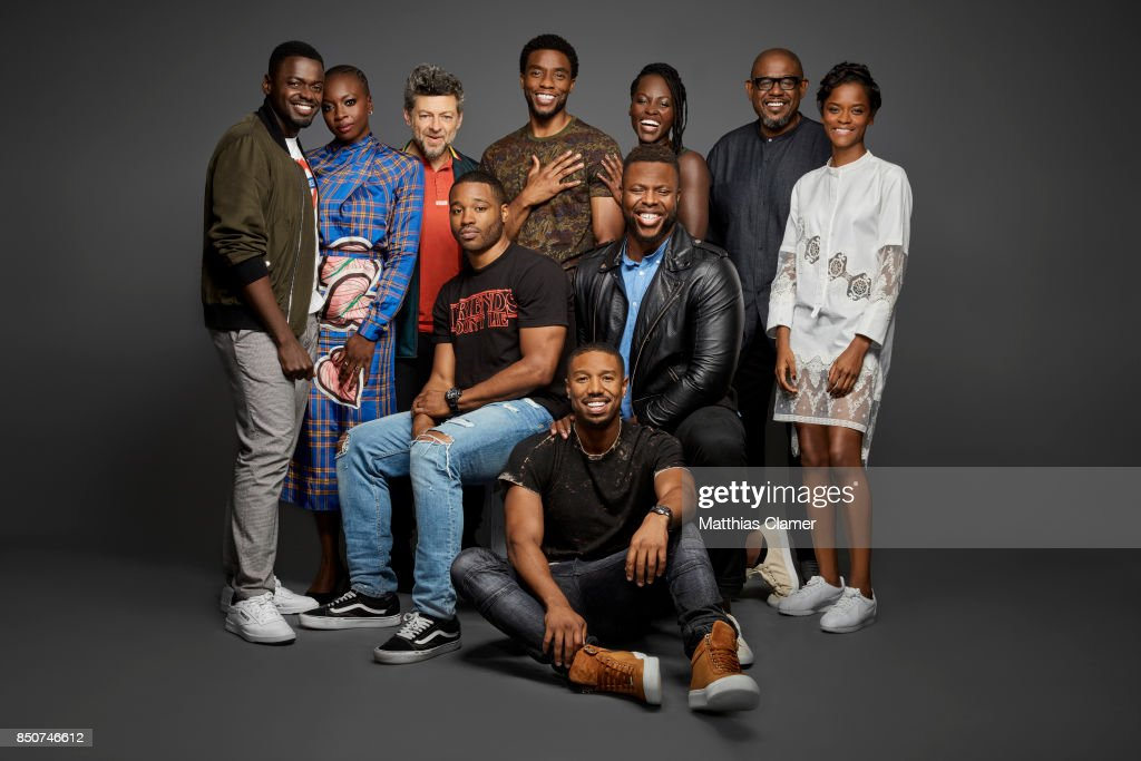 Actors (clockwise, L-R) Daniel Kaluuya, Danai Gurira, Andy Serkis, Chadwick Boseman, Lupita Nyong'o, Forest Whitaker, Letitia Wright, Winston Duke, Michael B. Jordan (on the ground), and director Ryan Coogler from Black Panther are photographed for Entertainment Weekly Magazine on July 22, 2017 at Comic Con in San Diego, California. PUBLISHED