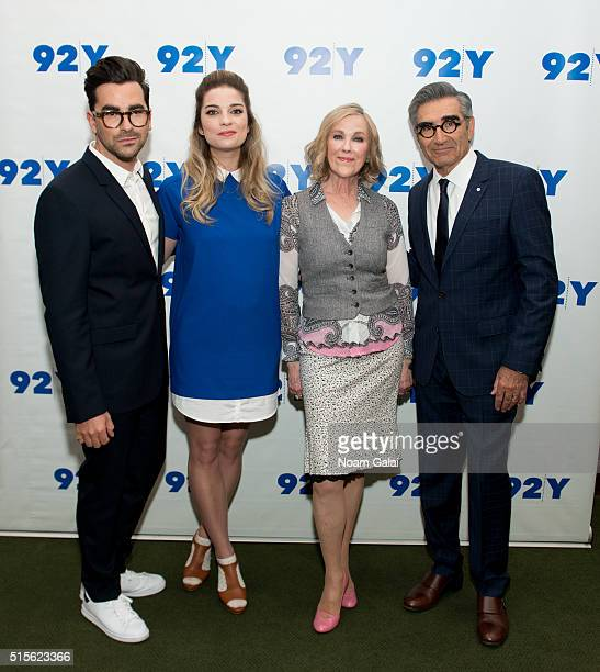 Actors Daniel Levy Annie Murphy Catherine O'Hara and Eugene Levy attend 92nd Street Y's 'Schitt's Creek' panel at 92nd Street Y on March 14 2016 in...