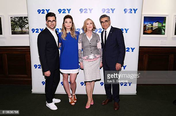 Actors Daniel Levy Annie Murphy Catherine O'Hara and Eugene Levy attend 92nd Street Y Presents 'Schitt's Creek' at 92nd Street Y on March 14 2016 in...