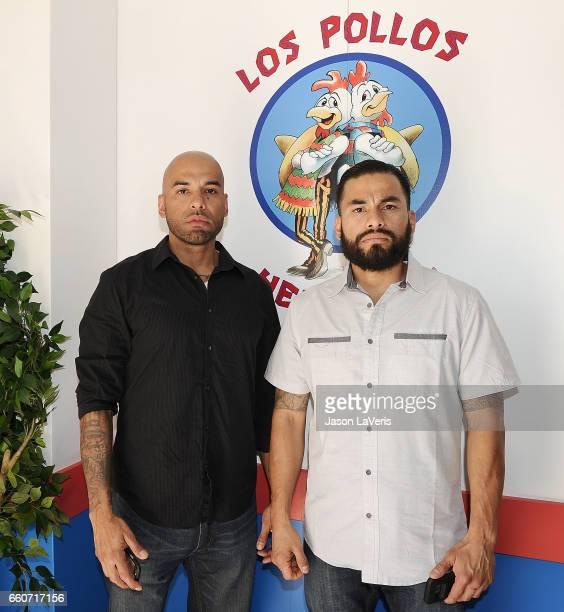 Actors Daniel Moncada and Luis Moncada atend the Los Pollos Hermanos popup on March 30 2017 in Los Angeles California