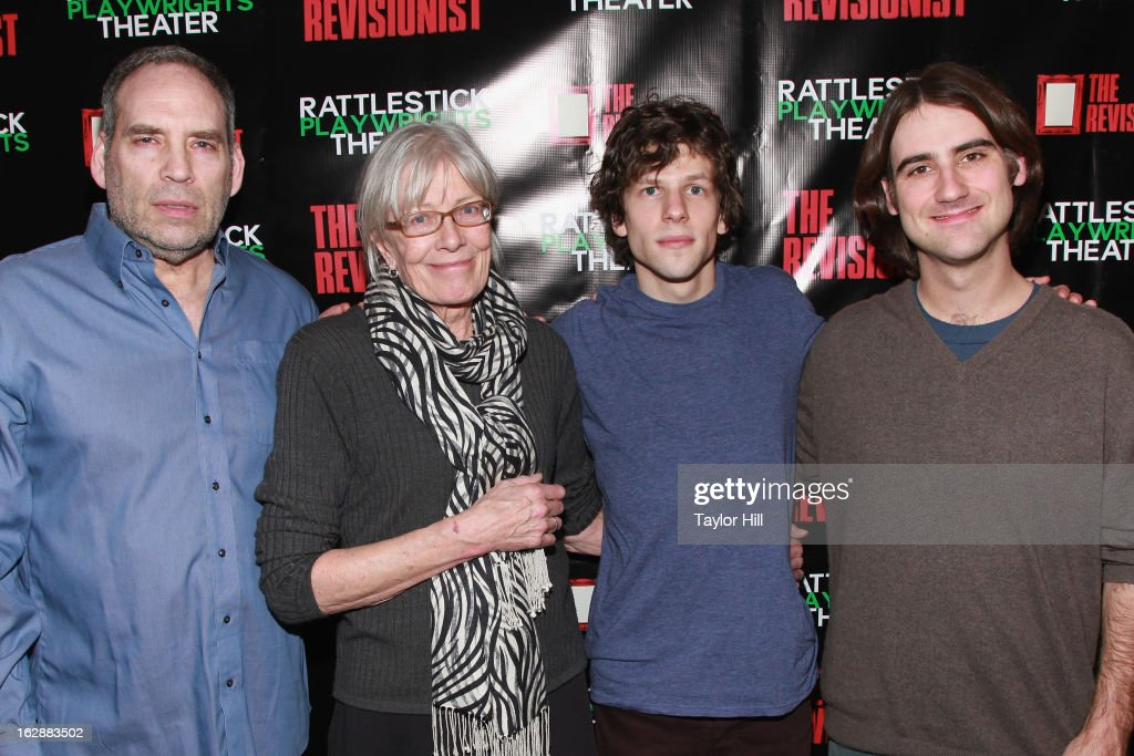 Actors Daniel Oreskes, <a gi-track='captionPersonalityLinkClicked' href=/galleries/search?phrase=Vanessa+Redgrave&family=editorial&specificpeople=169891 ng-click='$event.stopPropagation()'>Vanessa Redgrave</a>, and <a gi-track='captionPersonalityLinkClicked' href=/galleries/search?phrase=Jesse+Eisenberg&family=editorial&specificpeople=625439 ng-click='$event.stopPropagation()'>Jesse Eisenberg</a> pose with director Kip Fagan at 'The Revisionist' Opening Night at Cherry Lane Theatre on February 28, 2013 in New York City.