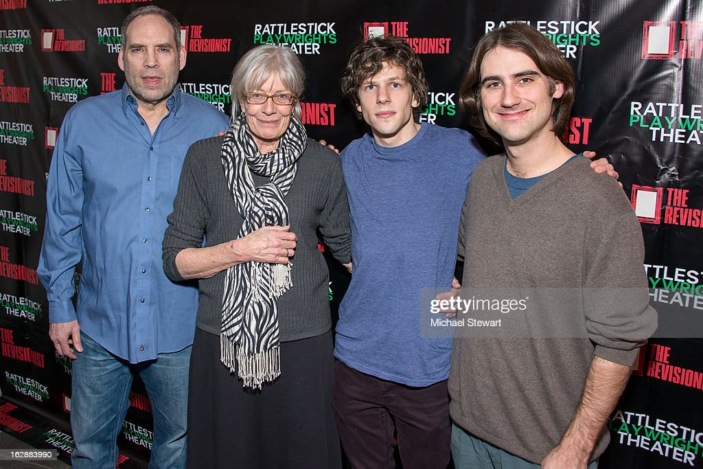 Actors Daniel Oreskes, <a gi-track='captionPersonalityLinkClicked' href=/galleries/search?phrase=Vanessa+Redgrave&family=editorial&specificpeople=169891 ng-click='$event.stopPropagation()'>Vanessa Redgrave</a>, <a gi-track='captionPersonalityLinkClicked' href=/galleries/search?phrase=Jesse+Eisenberg&family=editorial&specificpeople=625439 ng-click='$event.stopPropagation()'>Jesse Eisenberg</a> with director Kip Fagan attend 'The Revisionist' Opening Night at Cherry Lane Theatre on February 28, 2013 in New York City.