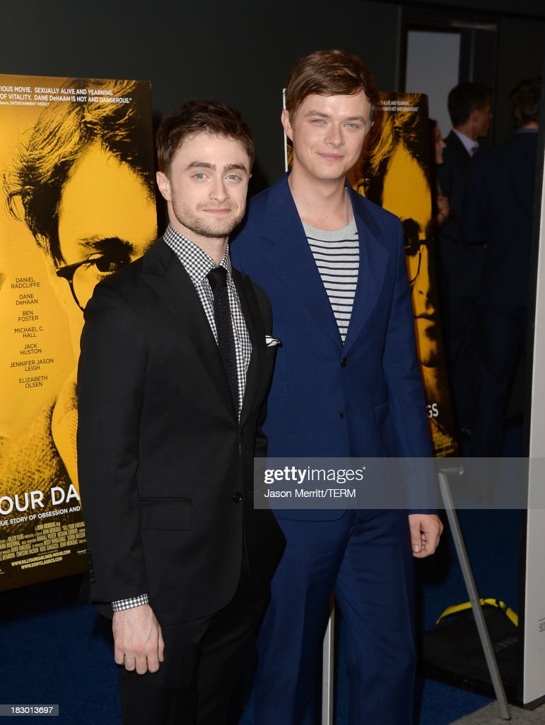 Actors <a gi-track='captionPersonalityLinkClicked' href=/galleries/search?phrase=Daniel+Radcliffe&family=editorial&specificpeople=204144 ng-click='$event.stopPropagation()'>Daniel Radcliffe</a> and <a gi-track='captionPersonalityLinkClicked' href=/galleries/search?phrase=Dane+DeHaan&family=editorial&specificpeople=6890481 ng-click='$event.stopPropagation()'>Dane DeHaan</a> arrive at the premiere of Sony Pictures Classics' 'Kill Your Darlings' at Writers Guild Theater on October 3, 2013 in Beverly Hills, California.