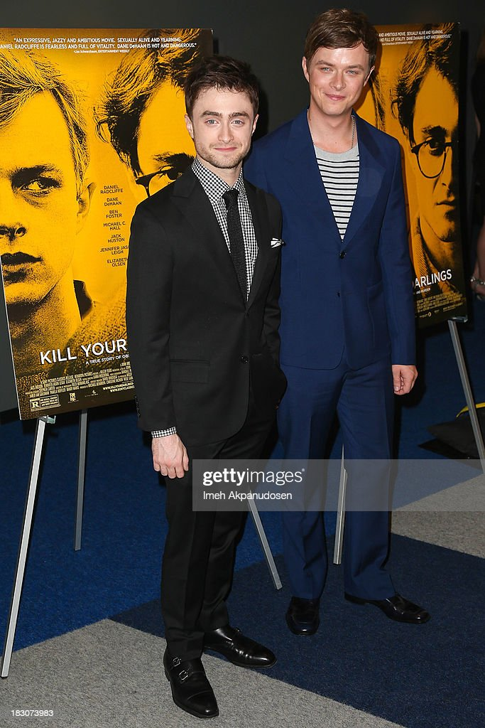 Actors Daniel Radcliffe (L) and Dane DeHaan attend the premiere of Sony Pictures Classics' 'Kill Your Darlings' at Writers Guild Theater on October 3, 2013 in Beverly Hills, California.