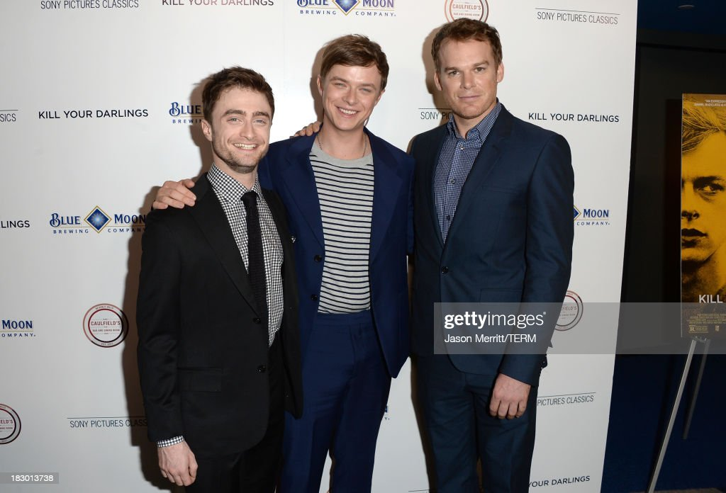 Actors <a gi-track='captionPersonalityLinkClicked' href=/galleries/search?phrase=Daniel+Radcliffe&family=editorial&specificpeople=204144 ng-click='$event.stopPropagation()'>Daniel Radcliffe</a>, <a gi-track='captionPersonalityLinkClicked' href=/galleries/search?phrase=Dane+DeHaan&family=editorial&specificpeople=6890481 ng-click='$event.stopPropagation()'>Dane DeHaan</a> and <a gi-track='captionPersonalityLinkClicked' href=/galleries/search?phrase=Michael+C.+Hall+-+Actor&family=editorial&specificpeople=680229 ng-click='$event.stopPropagation()'>Michael C. Hall</a> arrive at the premiere of Sony Pictures Classics' 'Kill Your Darlings' at Writers Guild Theater on October 3, 2013 in Beverly Hills, California.