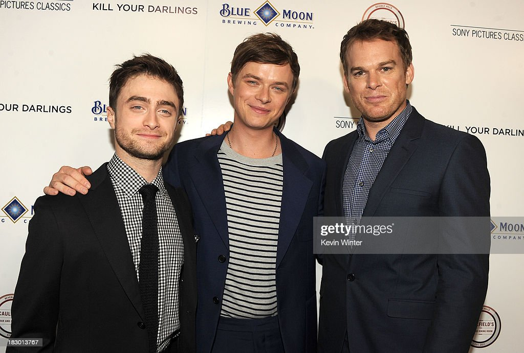 Actors <a gi-track='captionPersonalityLinkClicked' href=/galleries/search?phrase=Daniel+Radcliffe&family=editorial&specificpeople=204144 ng-click='$event.stopPropagation()'>Daniel Radcliffe</a>, <a gi-track='captionPersonalityLinkClicked' href=/galleries/search?phrase=Dane+DeHaan&family=editorial&specificpeople=6890481 ng-click='$event.stopPropagation()'>Dane DeHaan</a> and <a gi-track='captionPersonalityLinkClicked' href=/galleries/search?phrase=Michael+C.+Hall+-+Actor&family=editorial&specificpeople=680229 ng-click='$event.stopPropagation()'>Michael C. Hall</a> attend the premiere of Sony Pictures Classics' 'Kill Your Darlings' at Writers Guild Theater on October 3, 2013 in Beverly Hills, California.