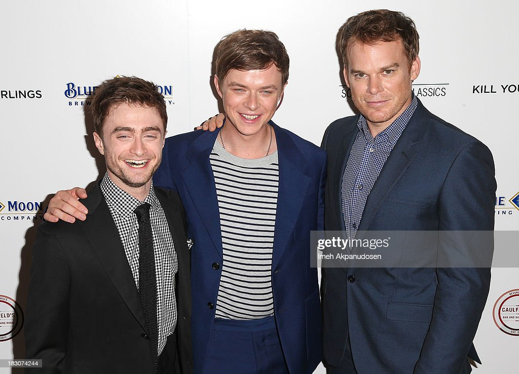 Actors Daniel Radcliffe, Dane DeHaan, and Michael C. Hall attend the premiere of Sony Pictures Classics' 'Kill Your Darlings' at Writers Guild Theater on October 3, 2013 in Beverly Hills, California.