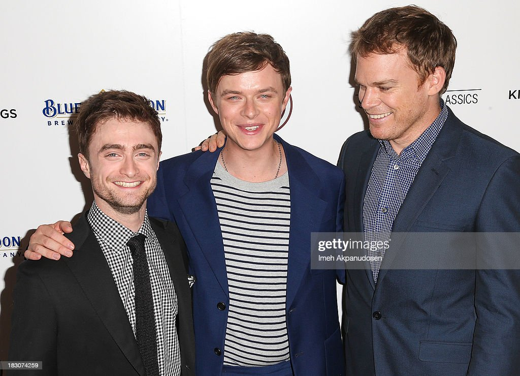 Actors <a gi-track='captionPersonalityLinkClicked' href=/galleries/search?phrase=Daniel+Radcliffe&family=editorial&specificpeople=204144 ng-click='$event.stopPropagation()'>Daniel Radcliffe</a>, <a gi-track='captionPersonalityLinkClicked' href=/galleries/search?phrase=Dane+DeHaan&family=editorial&specificpeople=6890481 ng-click='$event.stopPropagation()'>Dane DeHaan</a>, and <a gi-track='captionPersonalityLinkClicked' href=/galleries/search?phrase=Michael+C.+Hall+-+Actor&family=editorial&specificpeople=680229 ng-click='$event.stopPropagation()'>Michael C. Hall</a> attend the premiere of Sony Pictures Classics' 'Kill Your Darlings' at Writers Guild Theater on October 3, 2013 in Beverly Hills, California.