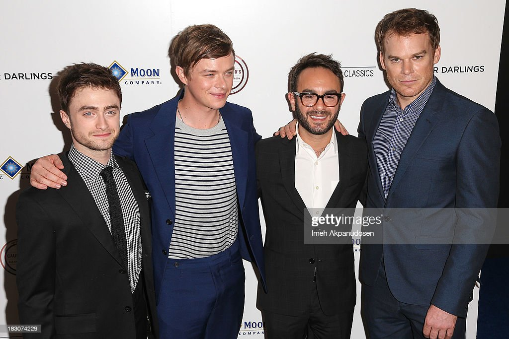 Actors Daniel Radcliffe, Dane DeHaan, filmmaker John Krokidas, and Michael C. Hall attend the premiere of Sony Pictures Classics' 'Kill Your Darlings' at Writers Guild Theater on October 3, 2013 in Beverly Hills, California.