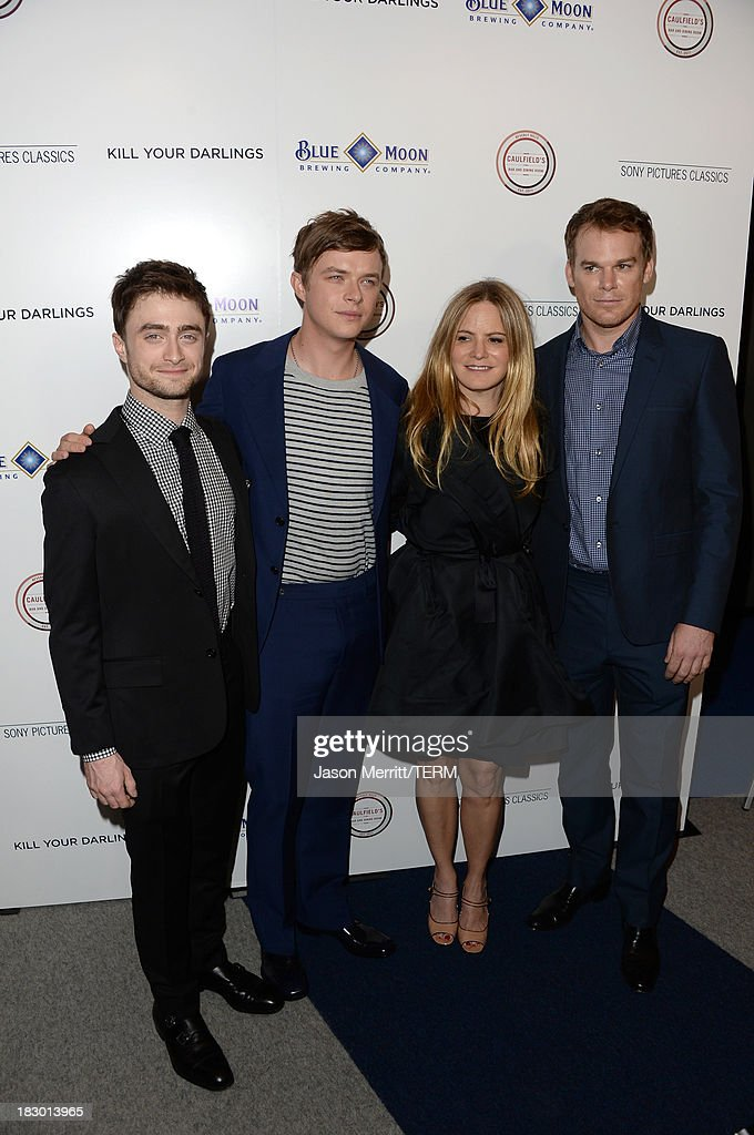 Actors Daniel Radcliffe, Dane DeHaan, Jennifer Jason Leigh and Michael C. Hall arrive at the premiere of Sony Pictures Classics' 'Kill Your Darlings' at Writers Guild Theater on October 3, 2013 in Beverly Hills, California.