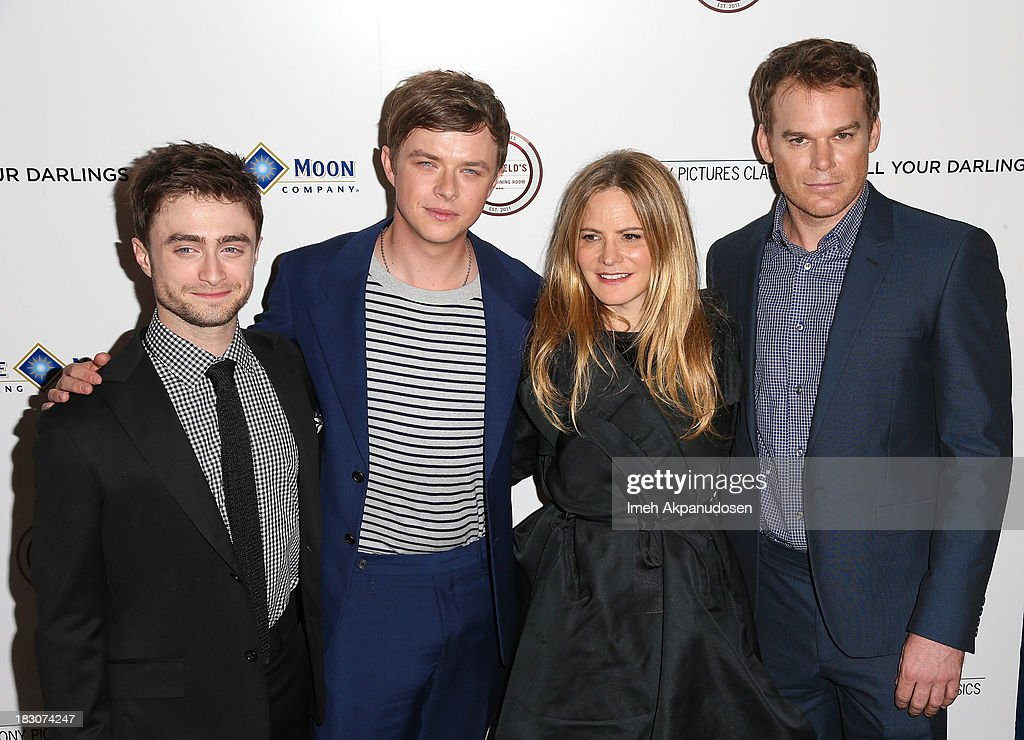 Actors <a gi-track='captionPersonalityLinkClicked' href=/galleries/search?phrase=Daniel+Radcliffe&family=editorial&specificpeople=204144 ng-click='$event.stopPropagation()'>Daniel Radcliffe</a>, <a gi-track='captionPersonalityLinkClicked' href=/galleries/search?phrase=Dane+DeHaan&family=editorial&specificpeople=6890481 ng-click='$event.stopPropagation()'>Dane DeHaan</a>, <a gi-track='captionPersonalityLinkClicked' href=/galleries/search?phrase=Jennifer+Jason+Leigh&family=editorial&specificpeople=208958 ng-click='$event.stopPropagation()'>Jennifer Jason Leigh</a>, and <a gi-track='captionPersonalityLinkClicked' href=/galleries/search?phrase=Michael+C.+Hall+-+Actor&family=editorial&specificpeople=680229 ng-click='$event.stopPropagation()'>Michael C. Hall</a> attend the premiere of Sony Pictures Classics' 'Kill Your Darlings' at Writers Guild Theater on October 3, 2013 in Beverly Hills, California.