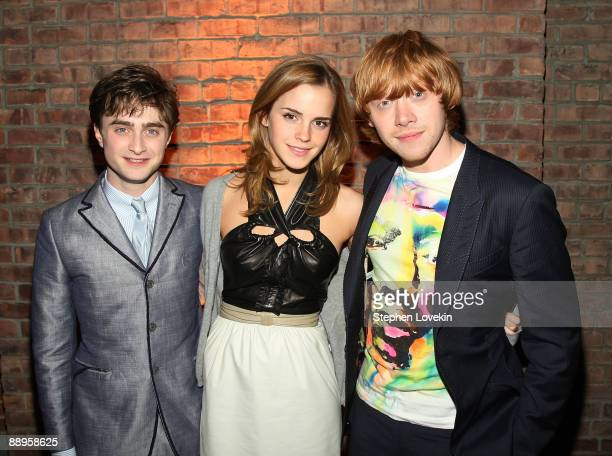 Actors Daniel Radcliffe Emma Watson and Rupert Grint attend the 'Harry Potter and the Half Blood Prince' premiere after party at American Museum of...