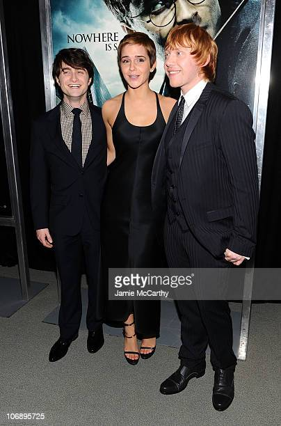 Actors Daniel Radcliffe Emma Watson and Rupert Grint attend the premiere of 'Harry Potter and the Deathly Hallows Part 1' at Alice Tully Hall on...
