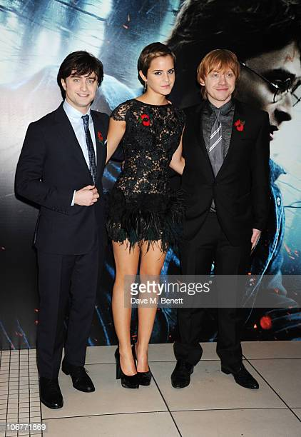 Actors Daniel Radcliffe Emma Watson and Rupert Grint attend the World Premiere of Harry Potter And The Deathly Hallows Part 1 at Odeon Leicester...