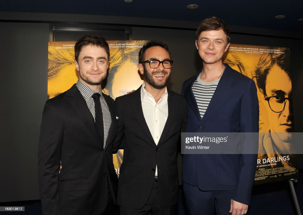 Actors <a gi-track='captionPersonalityLinkClicked' href=/galleries/search?phrase=Daniel+Radcliffe&family=editorial&specificpeople=204144 ng-click='$event.stopPropagation()'>Daniel Radcliffe</a>, Writer/director <a gi-track='captionPersonalityLinkClicked' href=/galleries/search?phrase=John+Krokidas&family=editorial&specificpeople=10125419 ng-click='$event.stopPropagation()'>John Krokidas</a> and <a gi-track='captionPersonalityLinkClicked' href=/galleries/search?phrase=Dane+DeHaan&family=editorial&specificpeople=6890481 ng-click='$event.stopPropagation()'>Dane DeHaan</a> attend the premiere of Sony Pictures Classics' 'Kill Your Darlings' at Writers Guild Theater on October 3, 2013 in Beverly Hills, California.