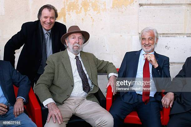 Actors Daniel Russo JeanPierre Marielle and JeanPaul Belmondo attend Museum Paul Belmondo celebrates its 5th Anniversary on April 13 2015 in...