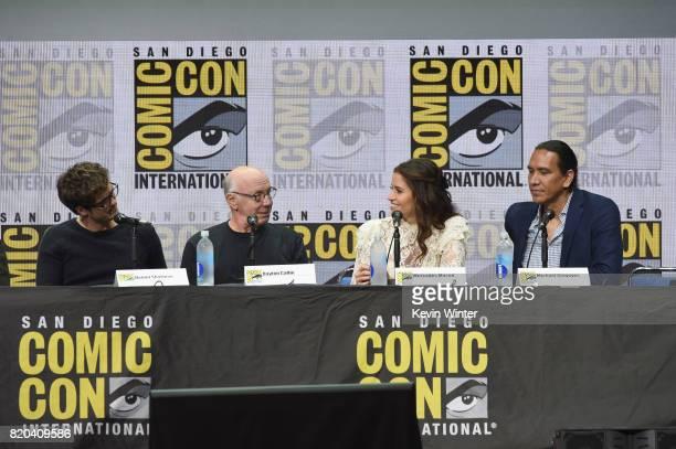 Actors Daniel Sharman Dayton Callie Mercedes Mason and Michael Greyeyes speak onstage at ComicCon International 2017 AMC's 'Fear The Walking Dead'...