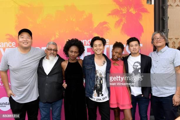 Actors Daniel So Ben Munoz Omono Okojie writer/director Justin Chon actor Simone Baker and producers Alex Chi and James J Yi attend 2017 Sundance...